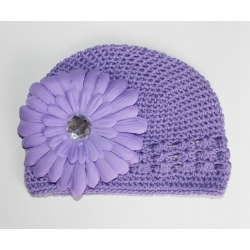 Crochet hat lavender with lavender flower
