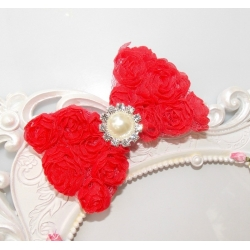 Hair clip-Red rosette bow