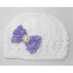 Crochet hat white with lavender diamante bow