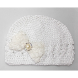 Crochet hat white with white diamante bow
