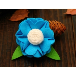 Hair clip-Aquamarine felt flower