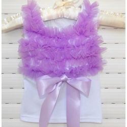 White Cotton With Lavender Ruffle Tank Top