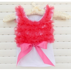 White Cotton With Coral Red Ruffle Tank Top