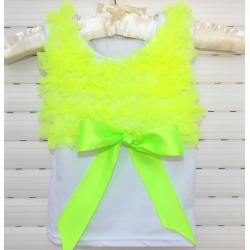 White Cotton With Lime Ruffle Tank Top