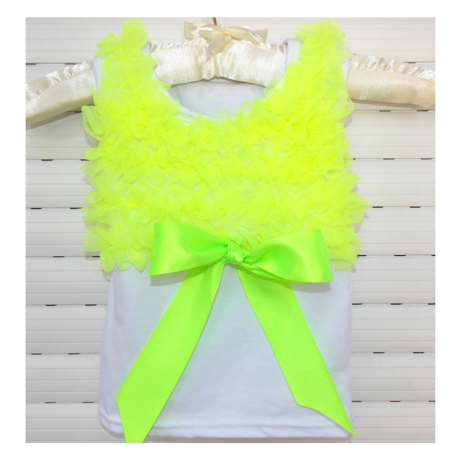 white with lime chiffon ruffles