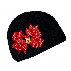 Crochet hat black with Minnie