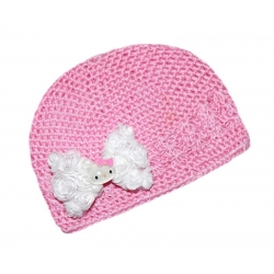Crochet hat pink with Hello Kitty bow