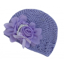 Crochet hat lavender with lavender rose and pearls