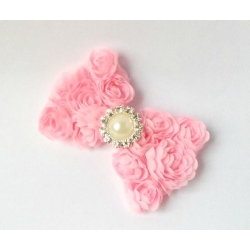 Hair clip-pink rosette bow