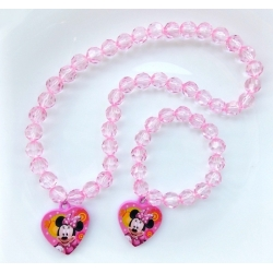 Baby girl necklace and bracelet set Minnie