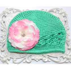 Crochet hat aqua mint with pink