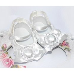 Baby girl ivory white satin shoes