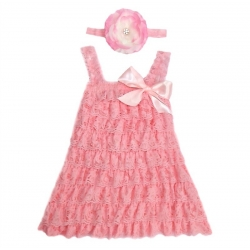 Baby dress Pink lace with headband