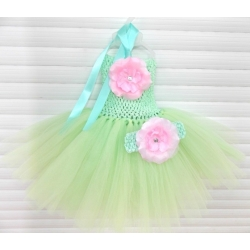 Baby tulle dress Aqua mint with headband