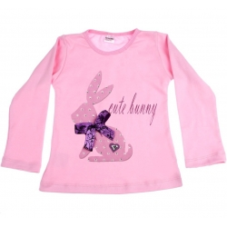 Baby girl top Cute bunny pink