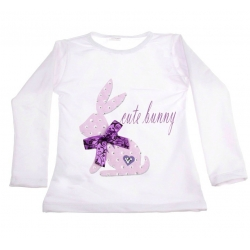 Baby girl top Cute bunny with lavender