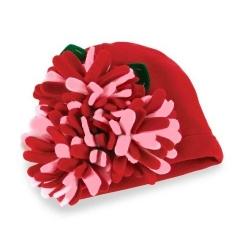 Gir red cotton hat 3 D felt flowers