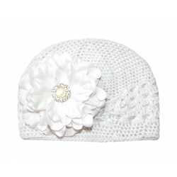 Crochet hat white with white peony flower