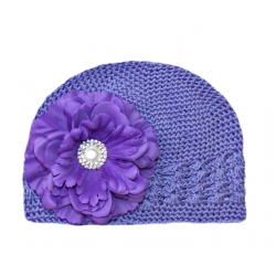 Crochet hat purple with purple peony flower