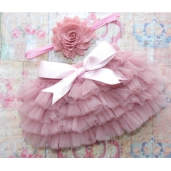 Frilly pants cute Dusty pink with headband